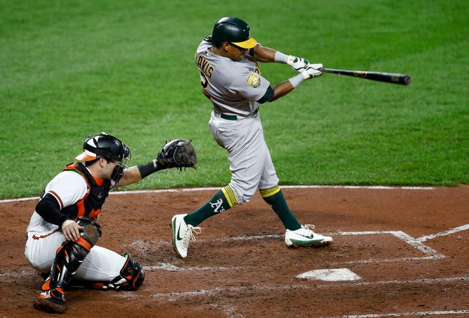 Oakland Athletics' Khris Davis, right, singles in front of Baltimore Orioles catcher Austin Wynns in the third inning of a baseball game, Wednesday, Sept. 12, 2018, in Baltimore. Matt Chapman scored on the play.