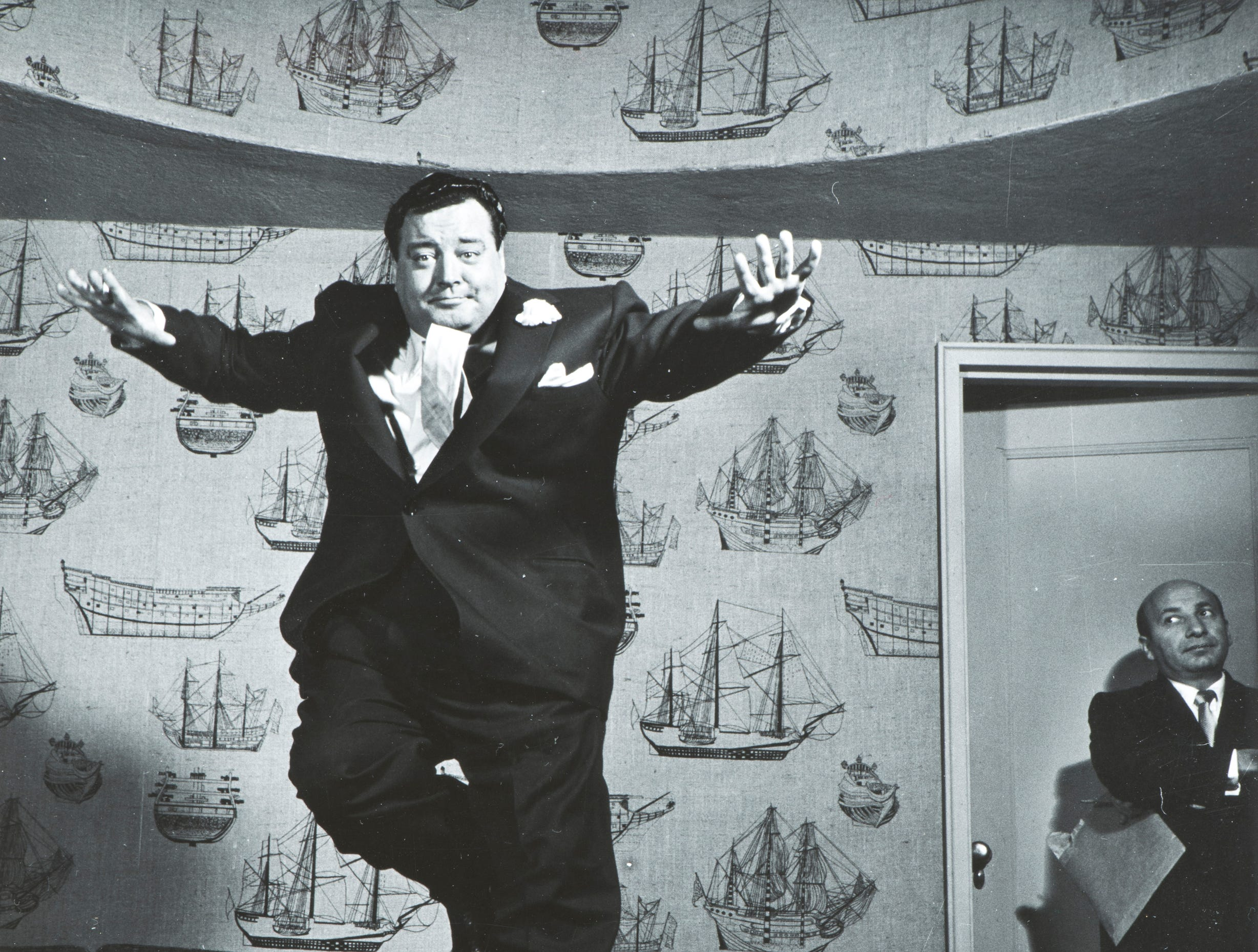 """Philippe Halsman's """"Jackie Gleason, 1955'' is a gelatin silver print on paper, part of the exhibit """"Celebrity Culture'' at  Zimmerli Art Museum at Rutgers University, New Brunswick."""