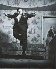 "Philippe Halsman's ""Jackie Gleason, 1955'' is a gelatin silver print work on paper, part of the ""Celebrity Culture'' exhibit at the Zimmerli Art Museum at Rutgers University."