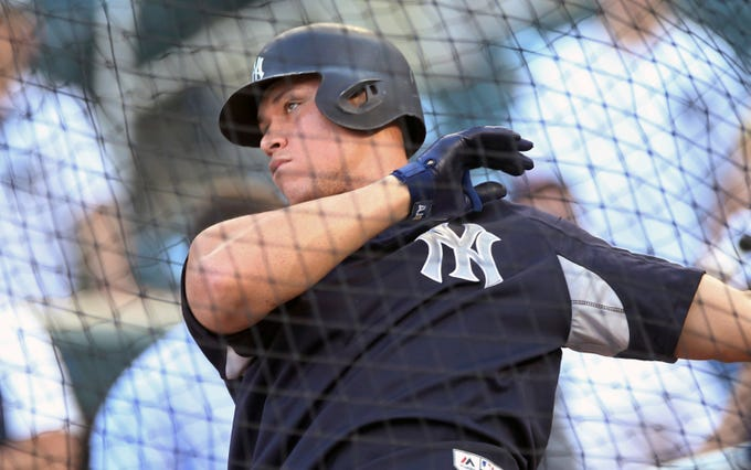 New York Yankees' Aaron Judge takes batting practice before a baseball game against the Minnesota Twins Wednesday, Sept. 12, 2018, in Minneapolis.