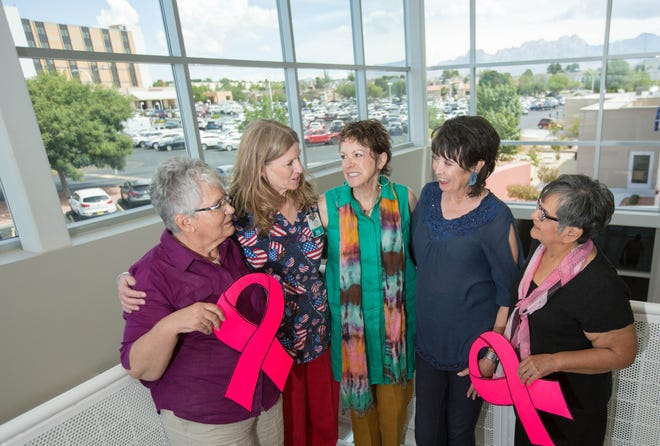 Josephine Wiskowski, breast cancer survivor; Lynn Fletcher, a nurse and director of Memorial Cancer Center; Jennifer Ryder Fox, breast cancer survivor; Bernadette Valdes, breast cancer survivor; and Rosalinda Gonzalez, breast cancer survivor, are all members of the Breast Cancer Support Group that Valdes helped start at Memorial Medical Center more than two decades ago.