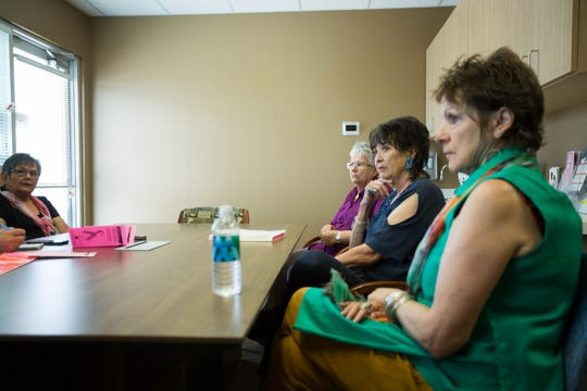 Josephine Wiskowski, Jennifer Ryder Fox, Bernadette Valdes and Rosalinda Gonzalez, members of the Breast Cancer Support Group at Memorial Medical Center, spoke about their cancer ordeals and participation in the group on Sept. 5 at Memorial Cancer Center.