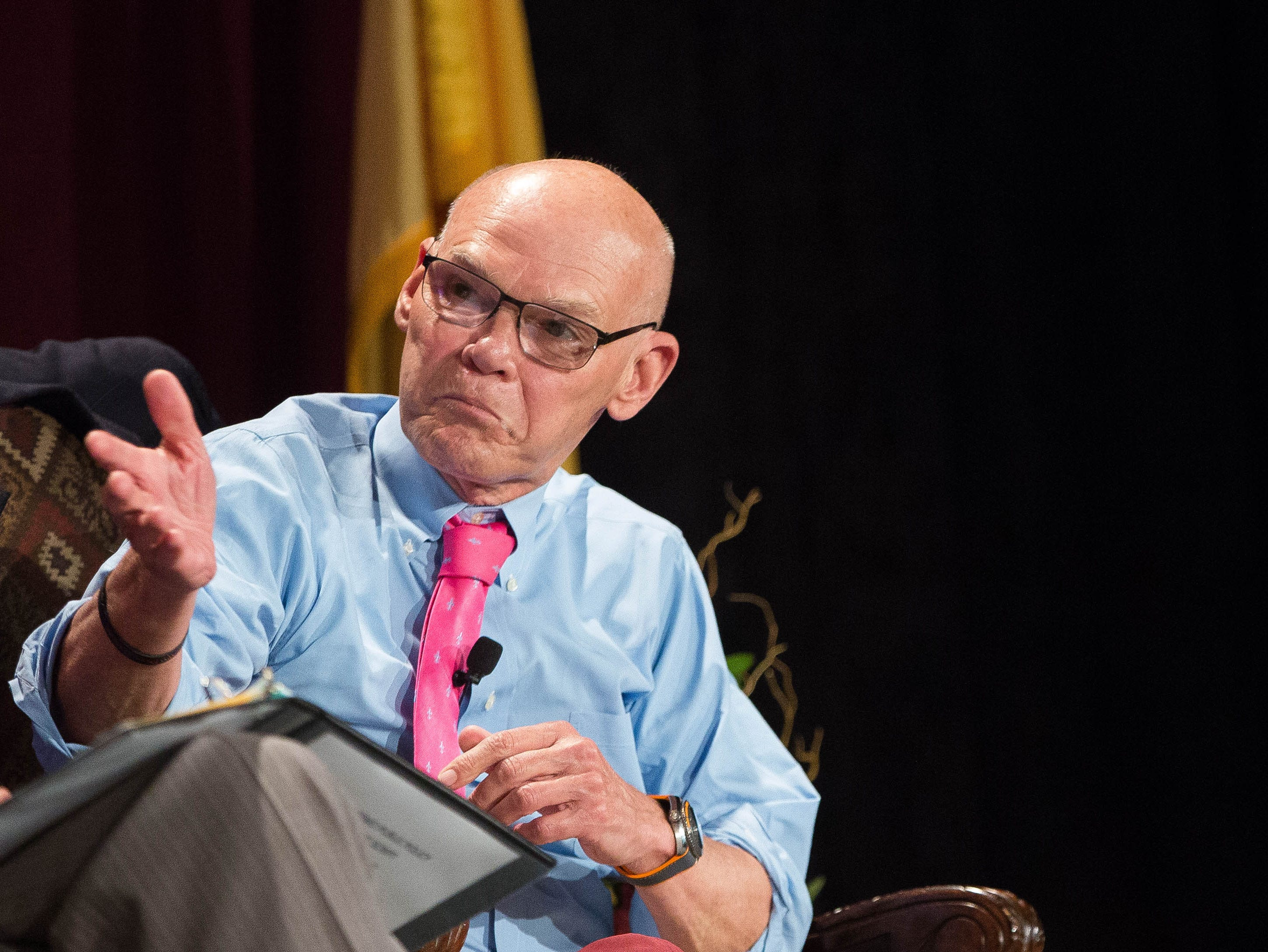 James Carville, right, political consultant, discusses the 2018 midterm elections and the Trump Presidency during a panel discussion at the 2018 Domenici Public Policy Conference, Thursday, September 13, 2018.