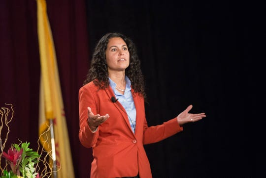 Xochitl Torres Small, Democratic candidate for the Second Congressional District, speaks at the 2018 Domenici Public Policy Conference, Thursday, September 13, 2018.