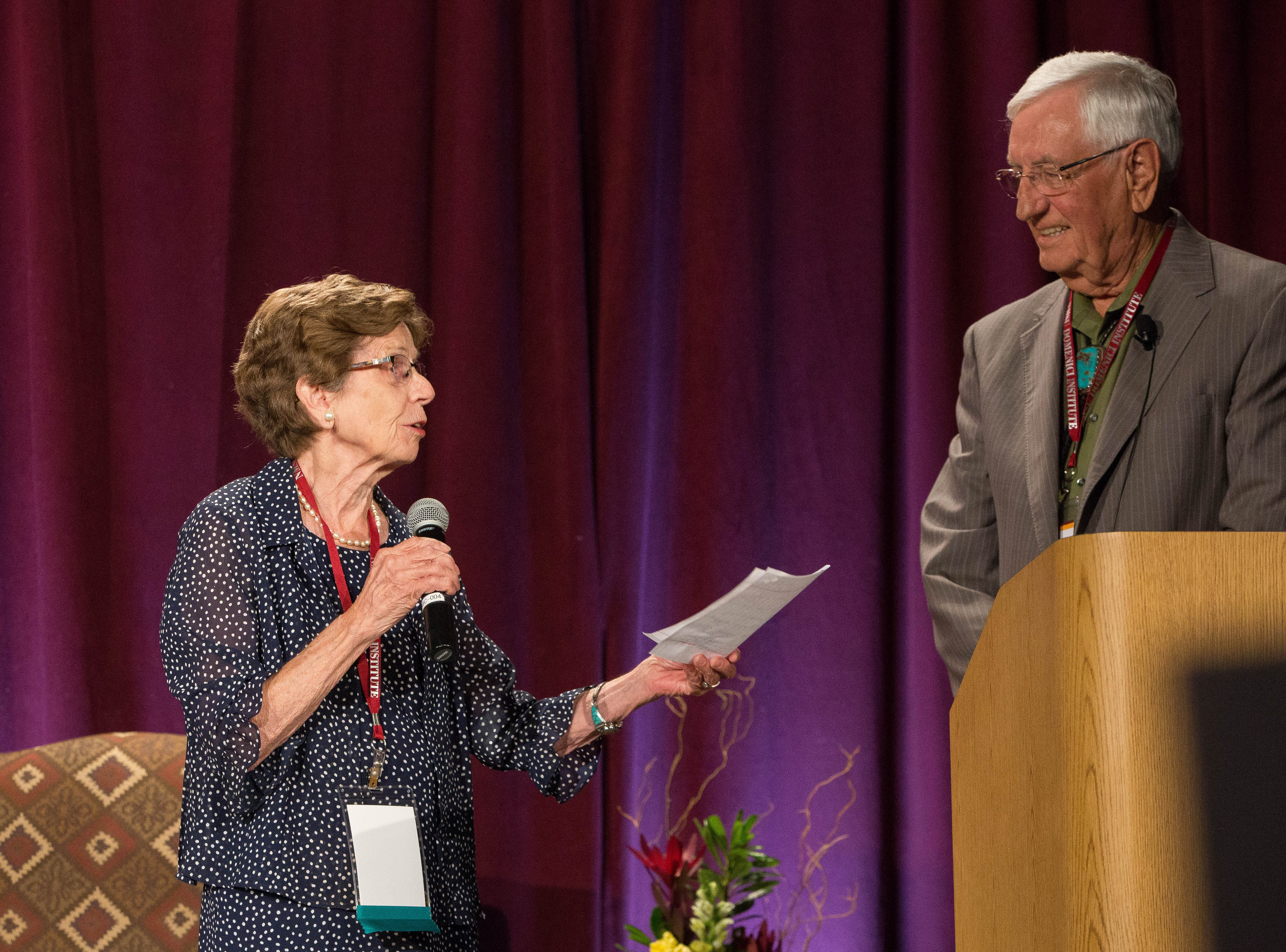 Nancy Domenici, thanked the attendees for being at the 2018 Domenici Public Policy Conference, and  thanked Garry Curruthers for hosting the event, Thursday at the close of the conference at the Las Cruces Convention Center.