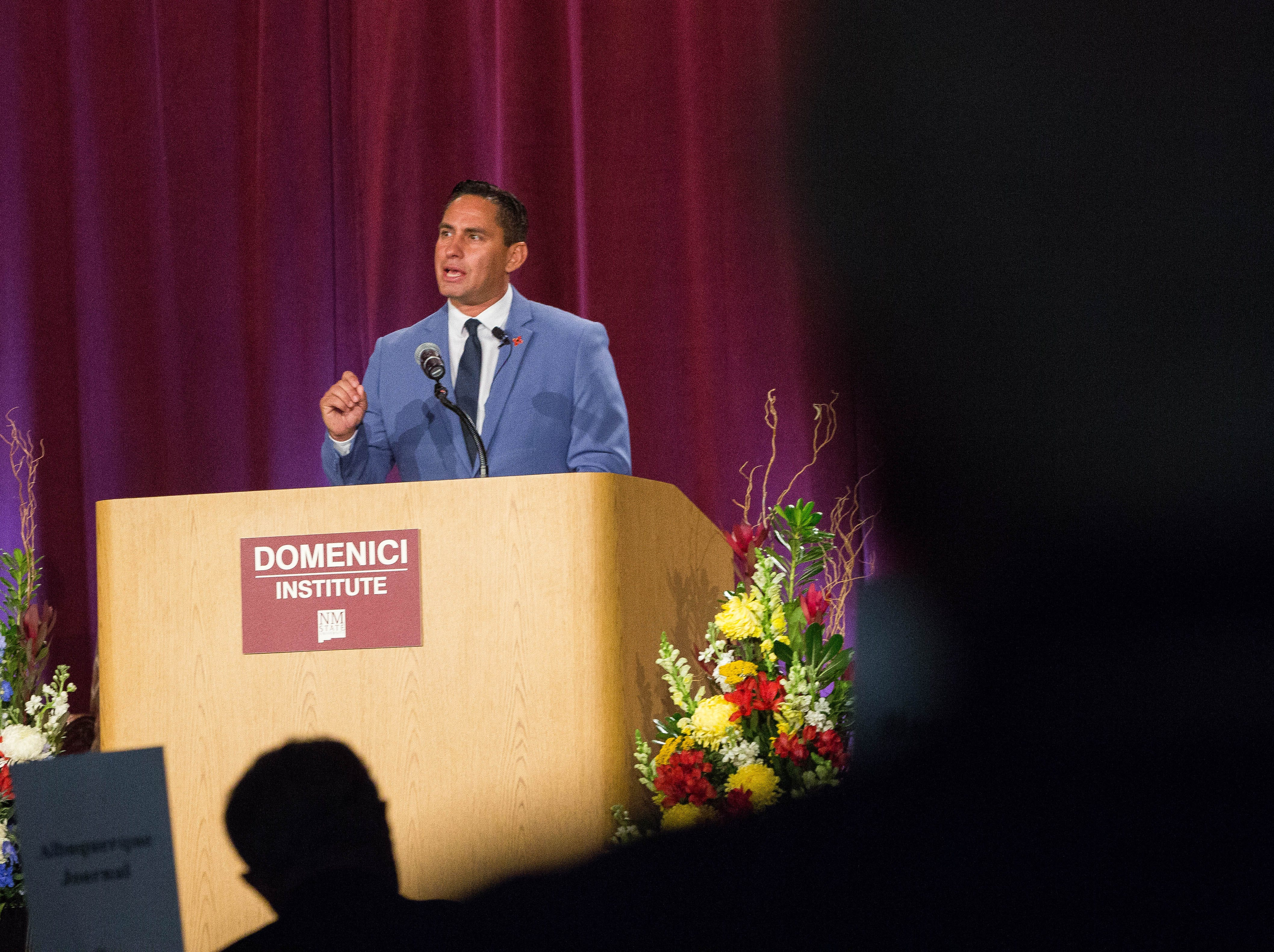 Howie Morales, democratic candidate for Lieutenant Governor, speaks at the 2018 Domenici Public Policy Conference at the Las Cruces Convention Center, Thursday, September 13, 2018.