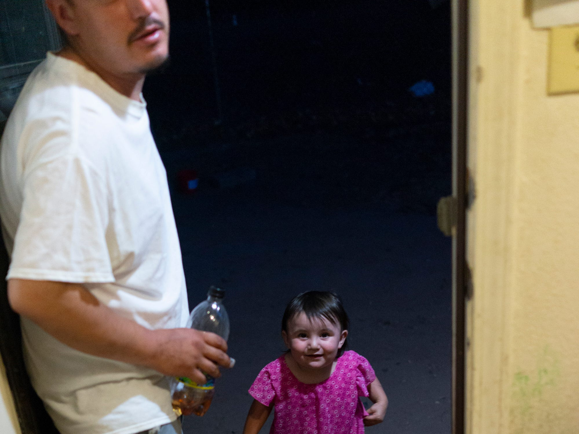 Daniella coming home to her father in Española.