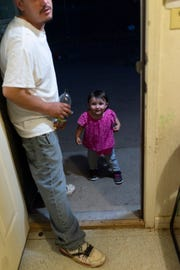 Daniella coming home to her father in Española.