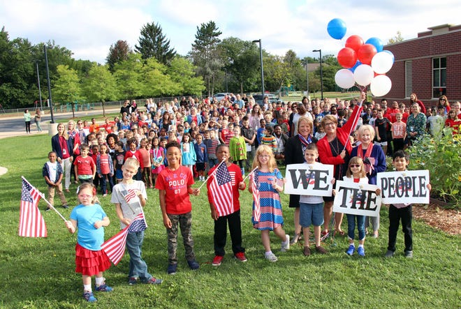 Staff and students celebrated Patriots Day at Greenfield Elementary School in Beverly Hills on Tuesday.