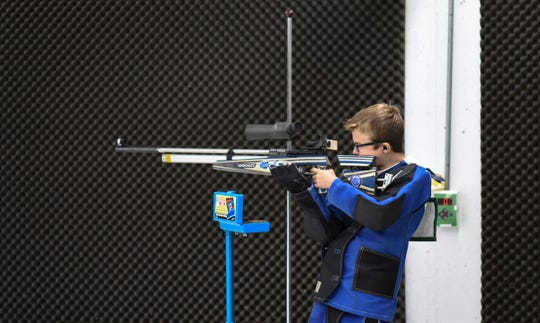 Braden Michalak works the range with a .177 caliber air rifle.
