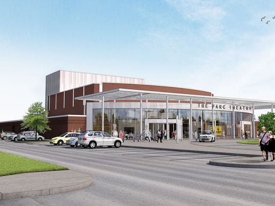 A rendering of the PARC Theatre facility that would be constructed just north of the existing structure.