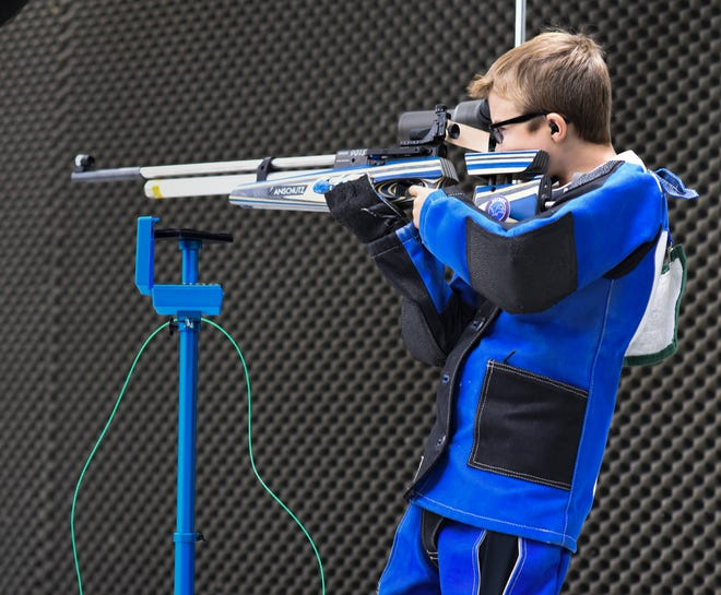 Braden Michalak, 11, of Canton practices shooting Sept. 8 at the Demmer Center, Michigan State University's Olympic training and education facility for firearms shooters in East Lansing.