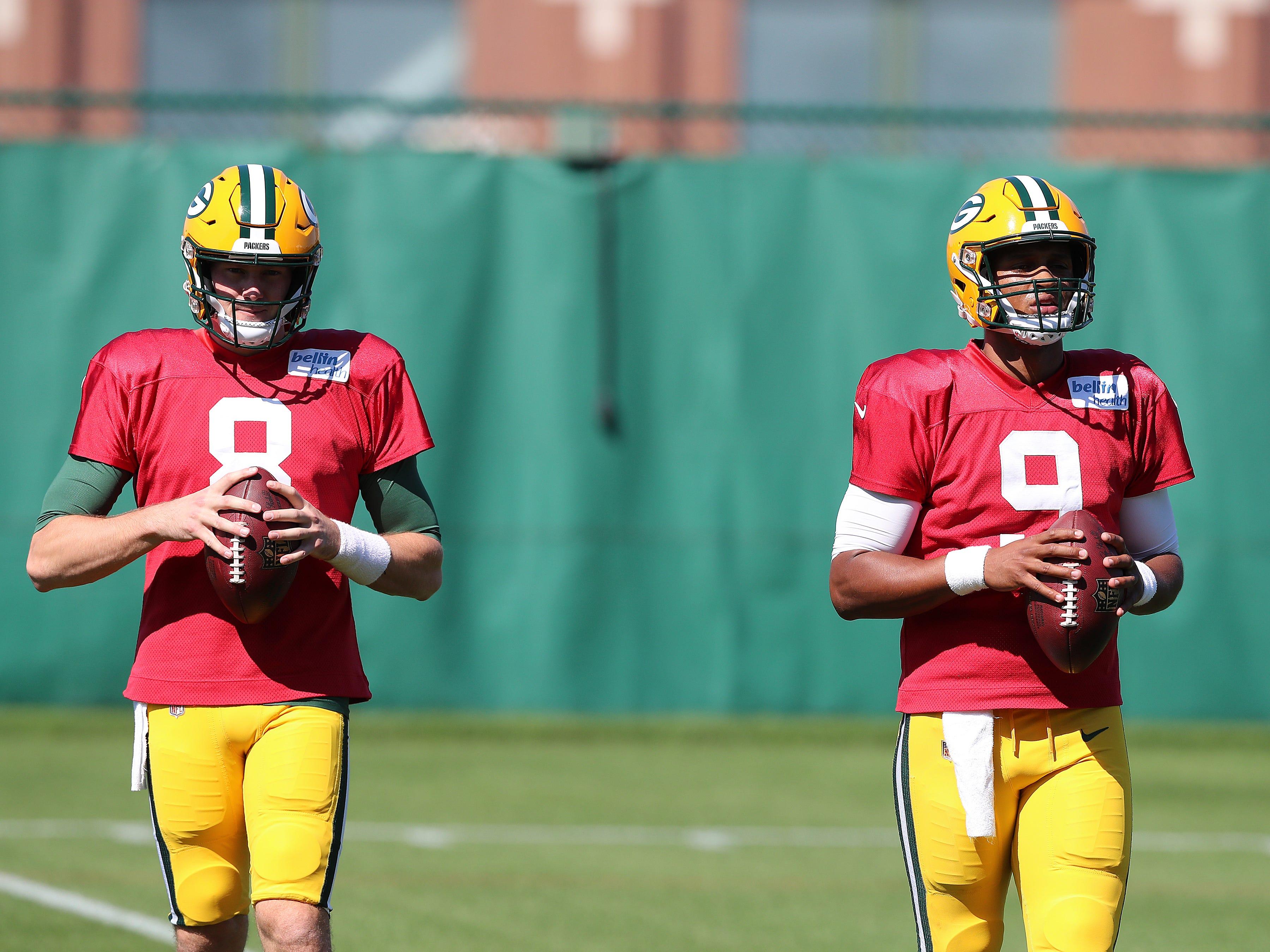 Green Bay Packers quarterback DeShone Kizer (9) and quarterback Tim Boyle (8) during practice September 13, 2018 at Clarke Hinkle Field in Ashwaubenon, WIs.