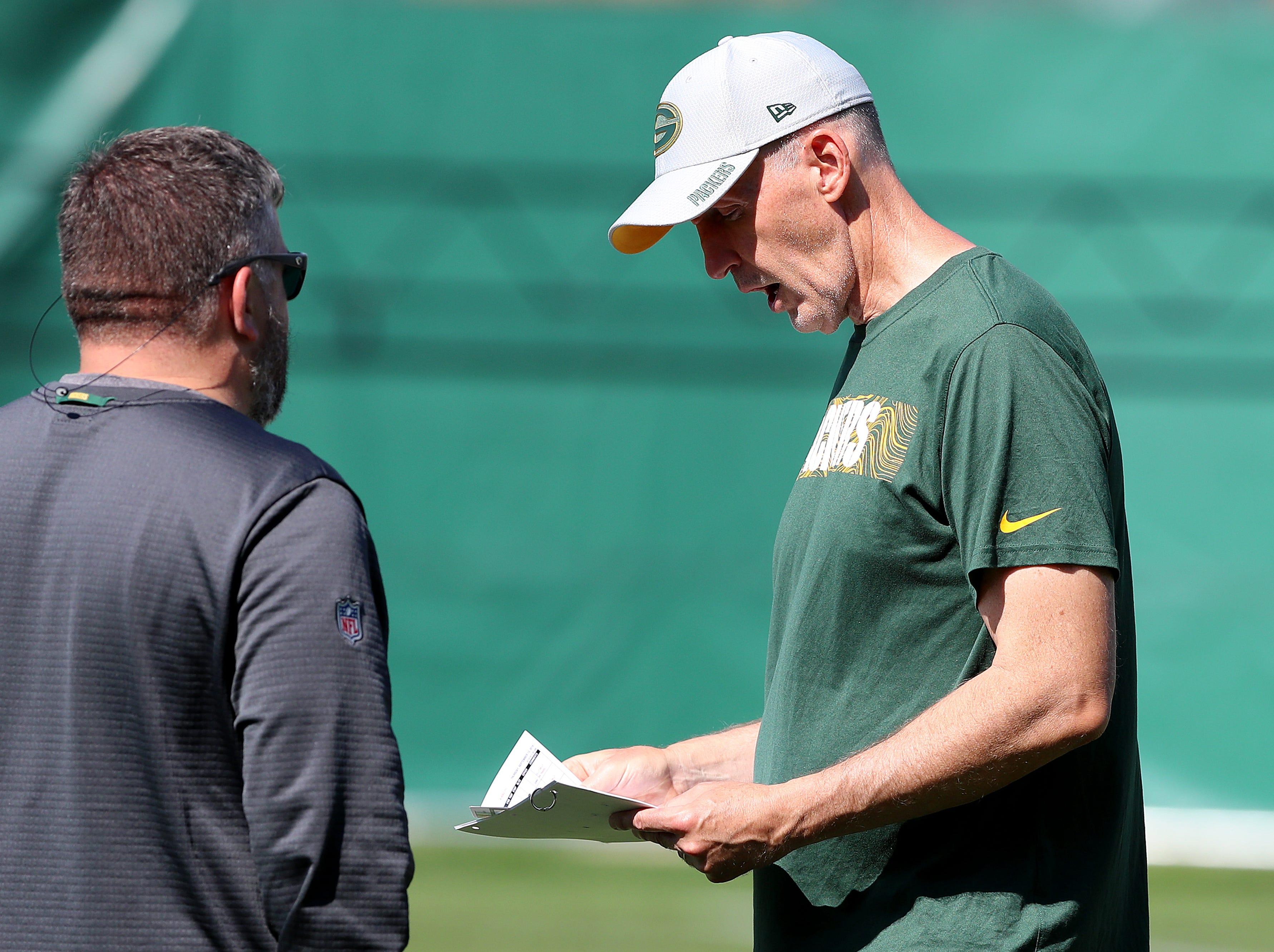 Green Bay Packers offensive coordinator Joe Philbin during practice September 13, 2018 at Clarke Hinkle Field in Ashwaubenon, WIs.