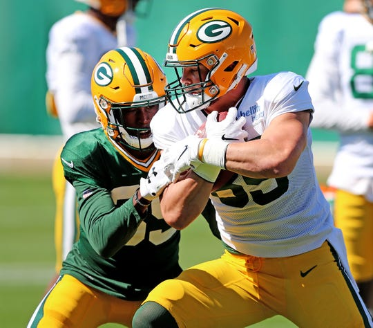 Green Bay Packers tight end Robert Tonyan (85 during practice September 13, 2018 at Clarke Hinkle Field in Ashwaubenon, WIs.