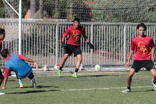 College of the Desert soccer players practice on Wednesday, September 12, 2018 in Palm Desert.