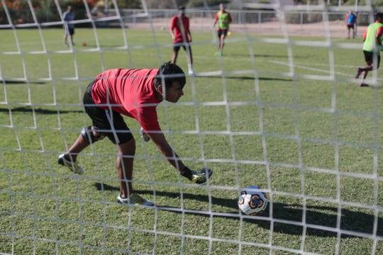 College of the Desert soccer players practice on Wednesday, September 12, 2018 in Palm Desert.