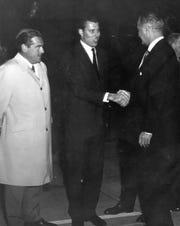 "Charlie Farrell, Palm Springs Mayor Frank Bogert, President Harry Truman, Palm Springs Police Chief August ""Gus"" Kettmann, Phil Regan in April of 1959."