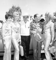 Polly Bergen, Helen Dzo Dzo, Phil Regan, Los Angeles Mayor Sam Yorty and Barbara Marx (Sinatra) during Desert Circus week c. 1964.