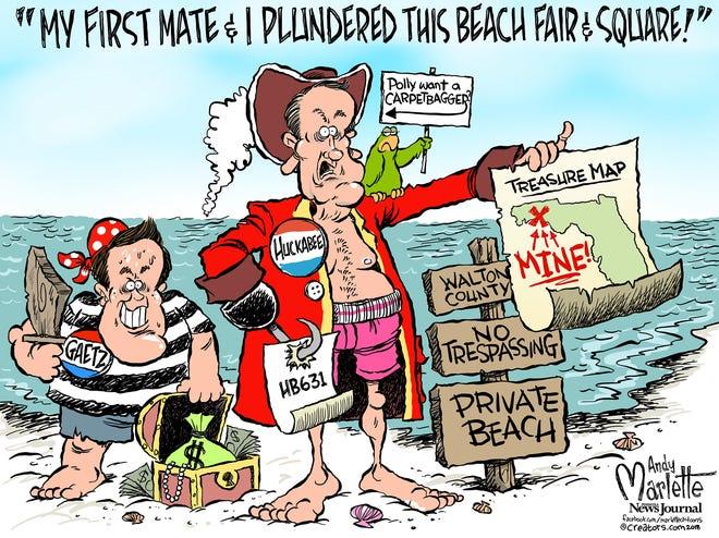 Huckabee pirated public beach!