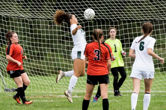 Fairfield's Annabelle Anderson receives the ball during a corner kick against Hanover on Thursday, September 13, 2018. The Knights beat the Nighthawks 19-0.