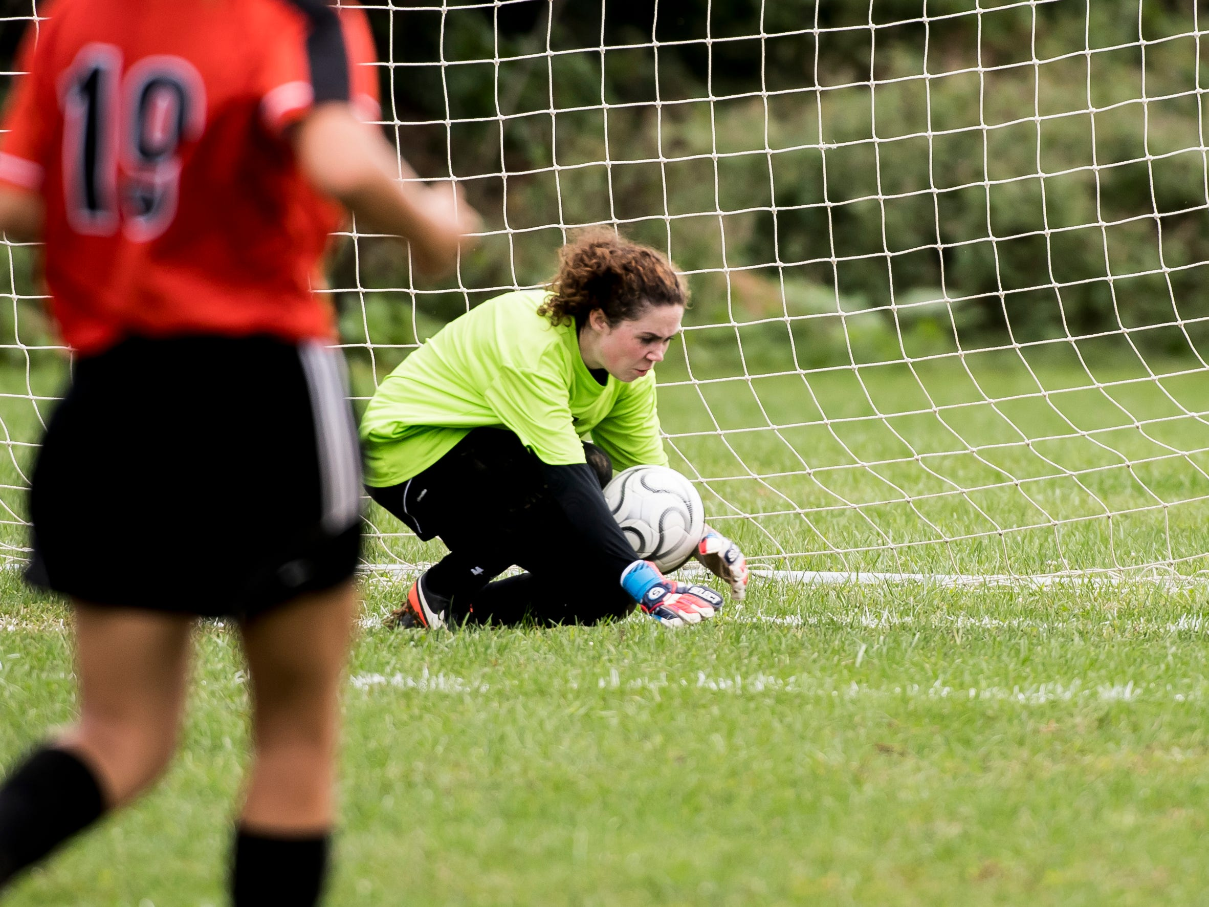 Hanover goalkeeper Sabrina Hobson blocks a shot during play against Fairfield on Thursday, September 13, 2018. The Knights beat the Nighthawks 19-0.