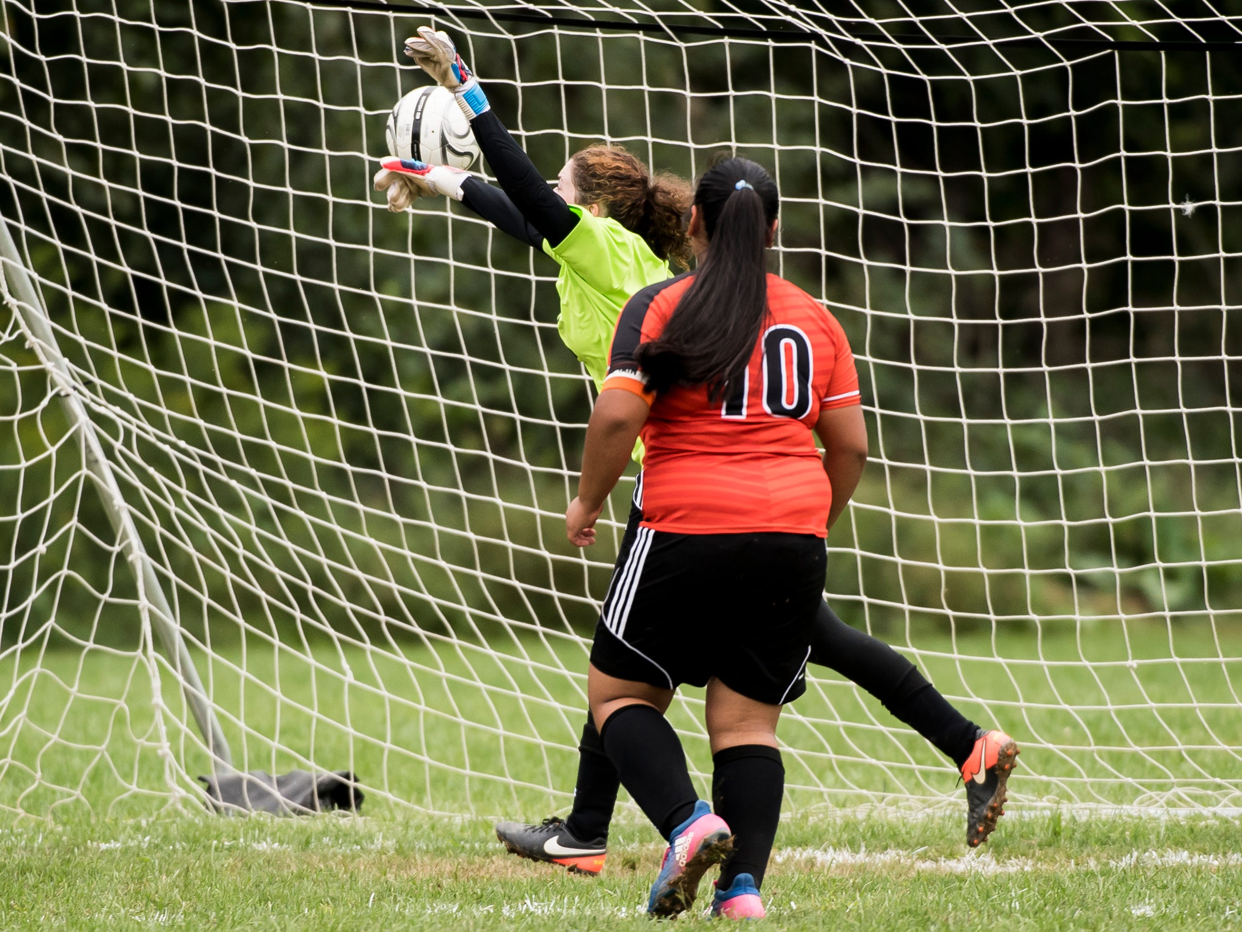 The ball soars just past Hanover goalkeeper Sabrina Hobson and into the back of the net for a Fairfield goal on Thursday, September 13, 2018.
