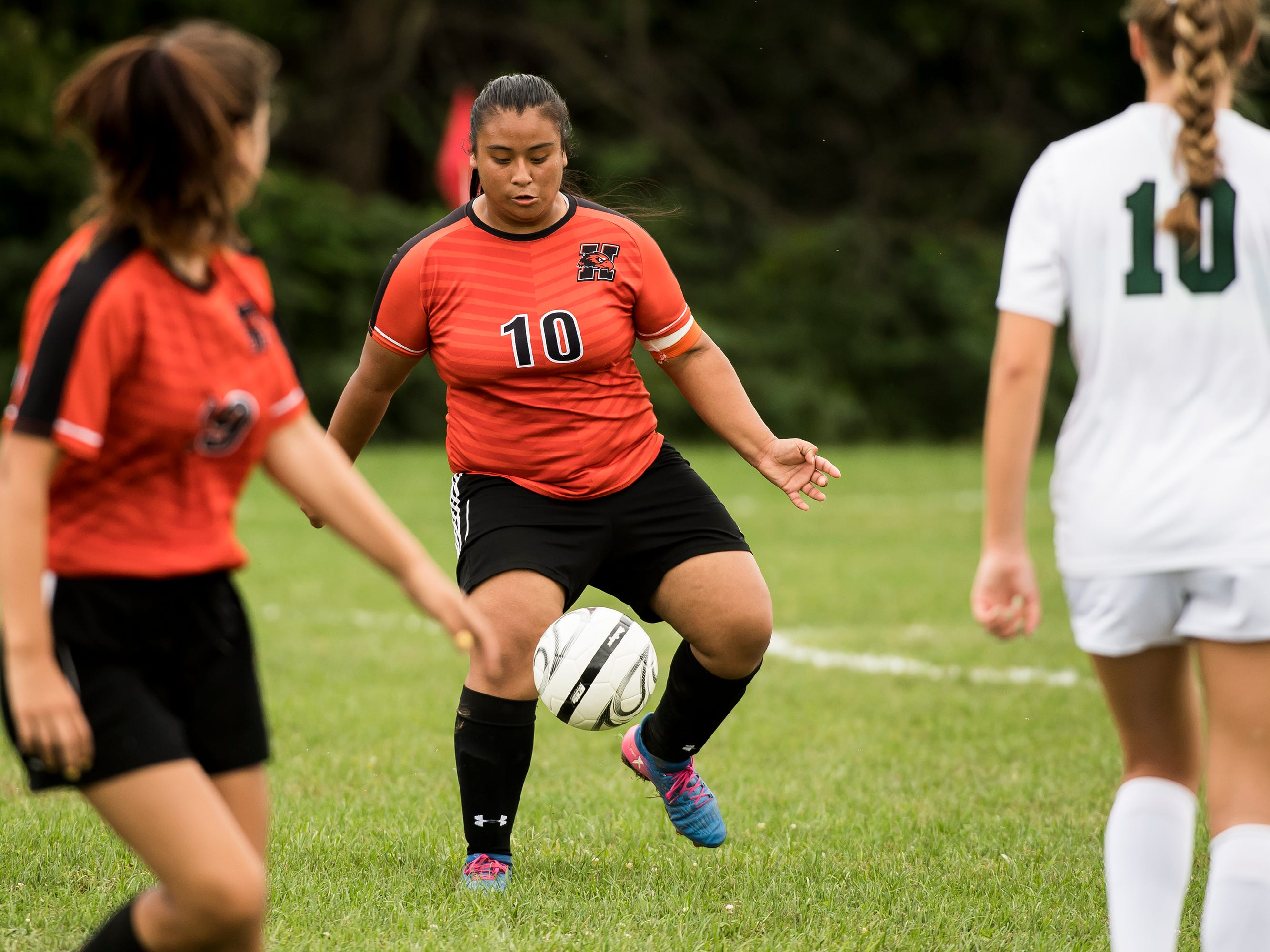 Hanover's Guadalupe Michua dribbles the ball during a game against Fairfield on Thursday, September 13, 2018. The Knights beat the Nighthawks 19-0.