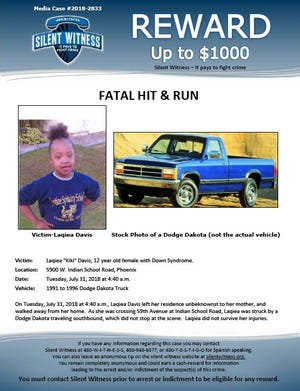 Police are seeking the driver involved in the hit-and-run of 12-year-old Laqiea Davis. The driver killed Davis early morning on July 31.