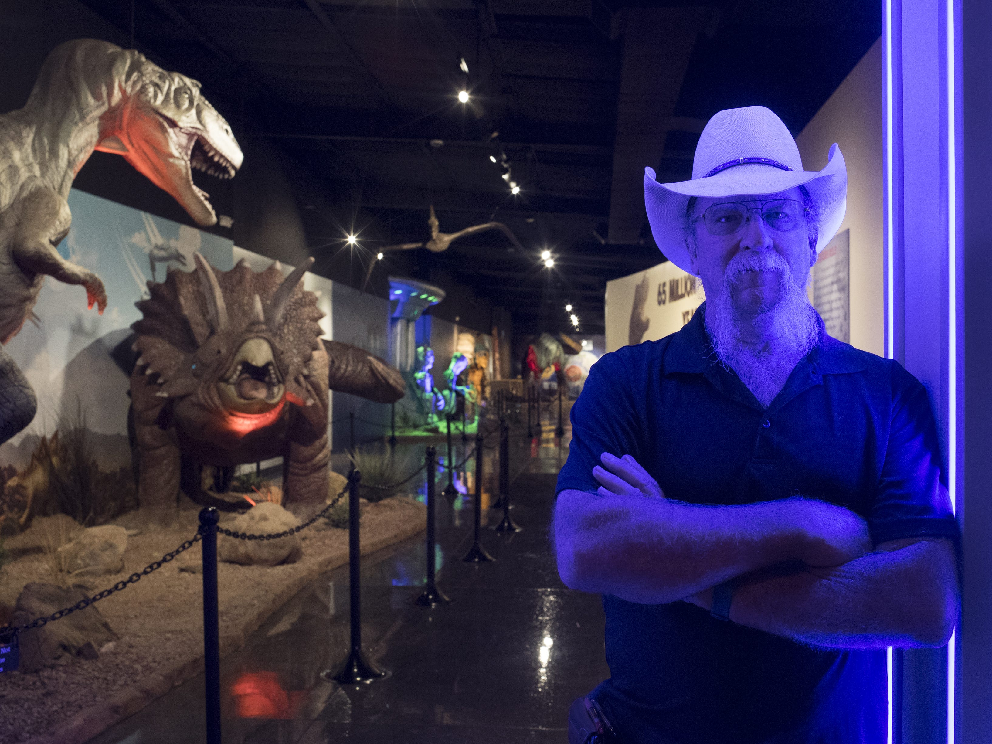 A portrait of manager Mike Bingen at the entrance of the new 12,000-square-foot museum, centering around The Thing, September 11, 2018, at the Bowlin Travel Center, near Benson, Arizona.