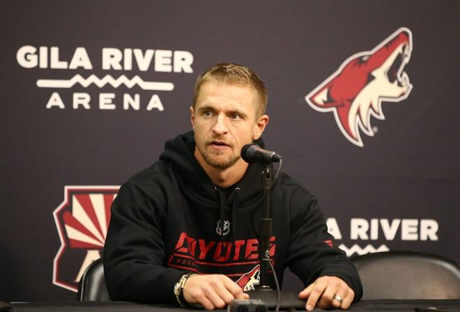 Arizona Coyotes Michael Grabner during media day on Sep.13, 2018, at Gila River Arena in Glendale, Ariz.