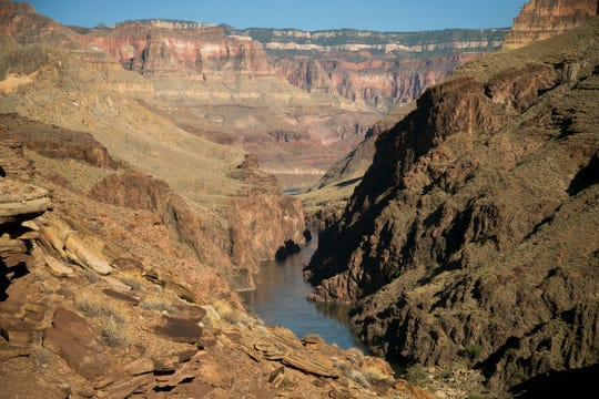 The view upstream of the Colorado River as seen from above the confluence of Deer Creek at river mile 137 in Grand Canyon National Park.