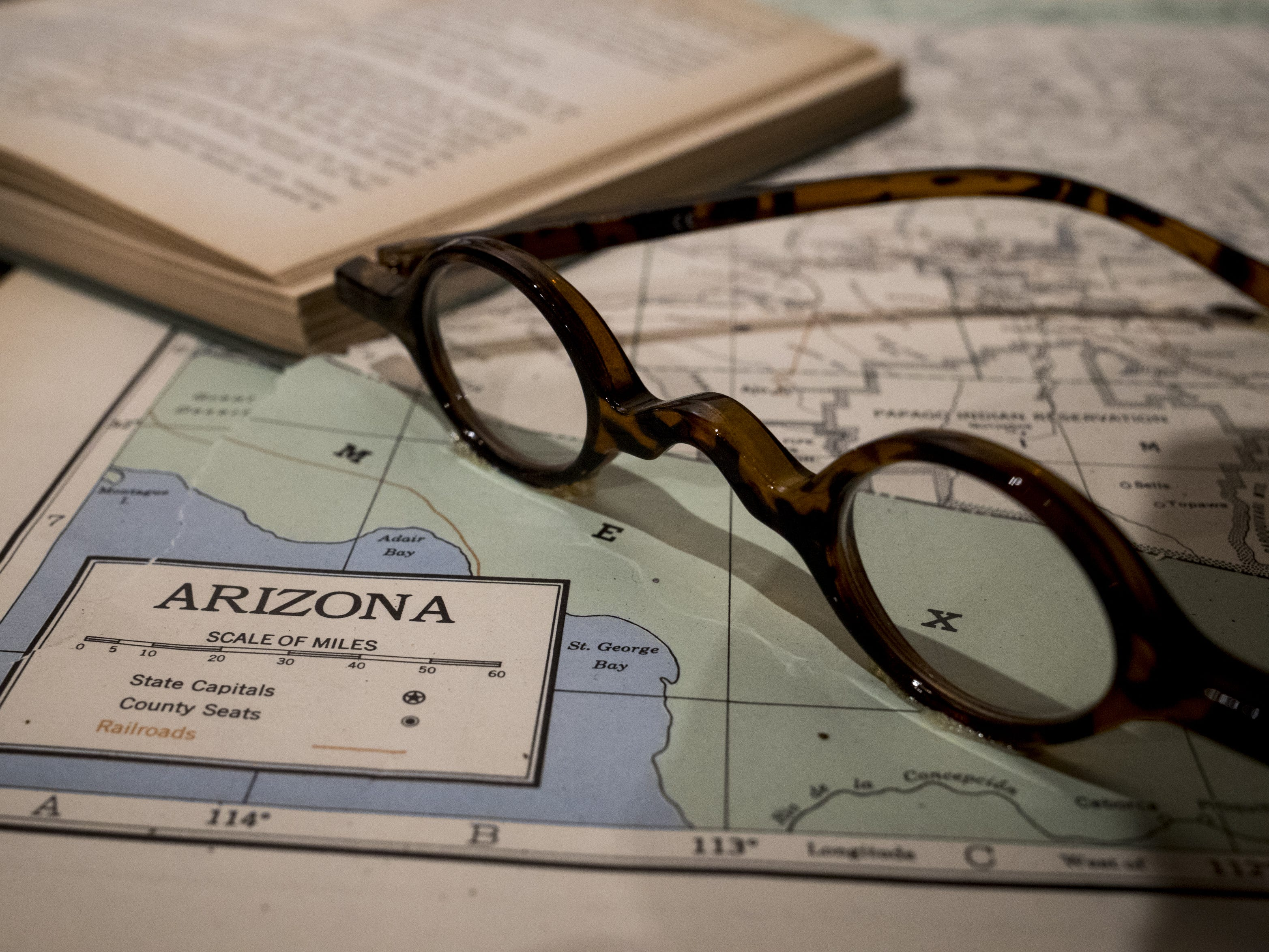 The (alleged) glasses of Winston Churchill are on display in the museum, September 11, 2018, at the Bowlin Travel Center, east of Benson, Arizona.