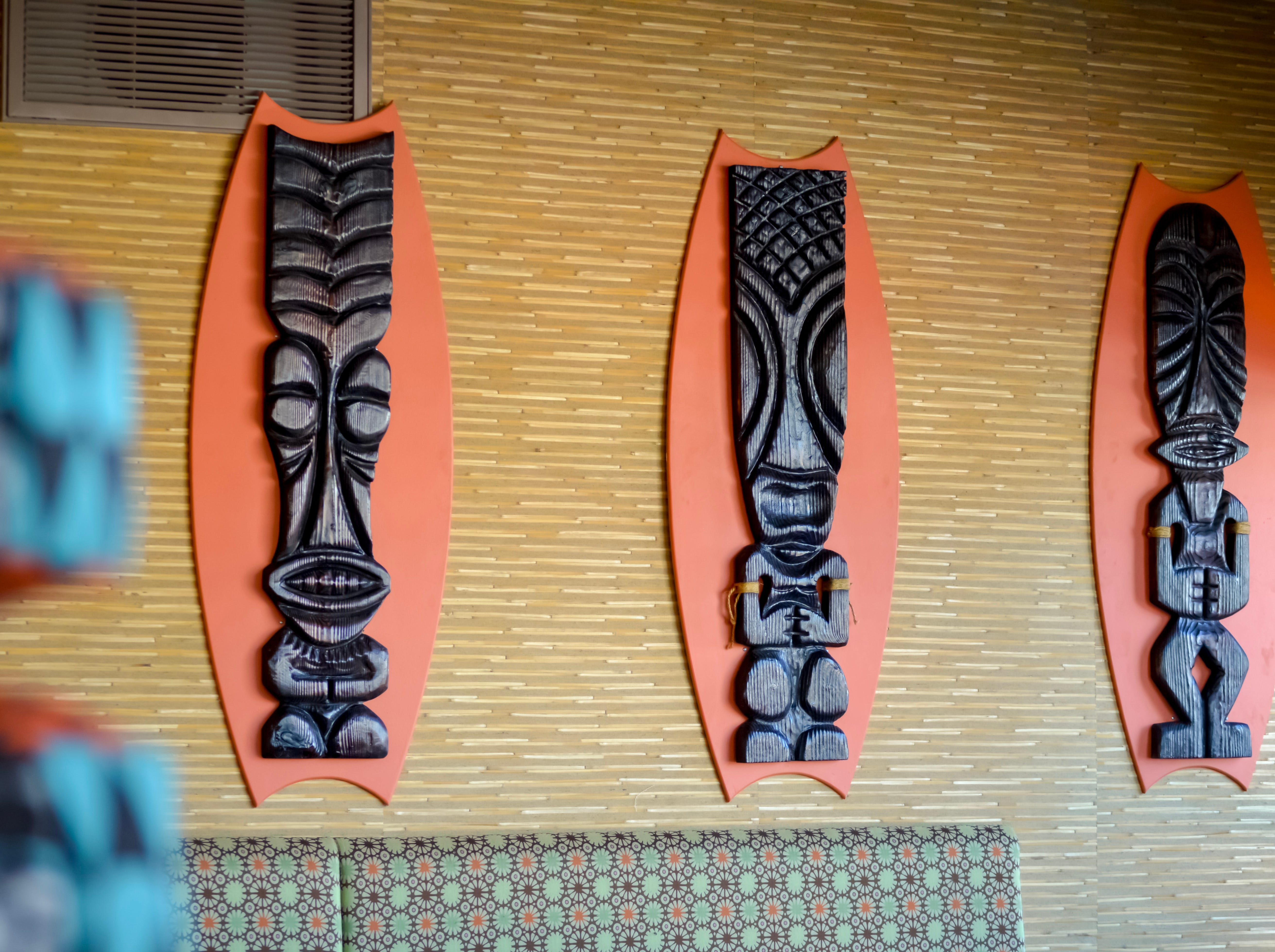 Custom tiki totems at Hula's Modern Tiki.