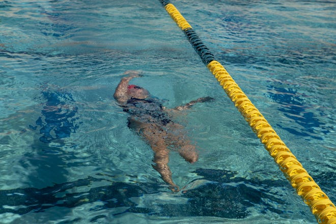 Mesa Mountain View swimmer Nina Bezzant, who was born with one leg but has been swimming club since she was 10. She is part of the Mountain View High School swim team.