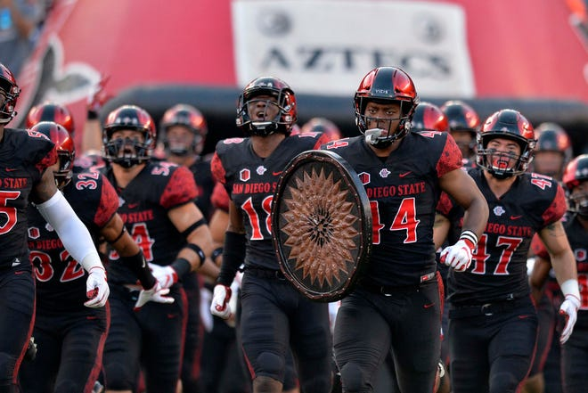 San Diego State takes the field before a home game against Sacramento State on Sept 8, 2018.