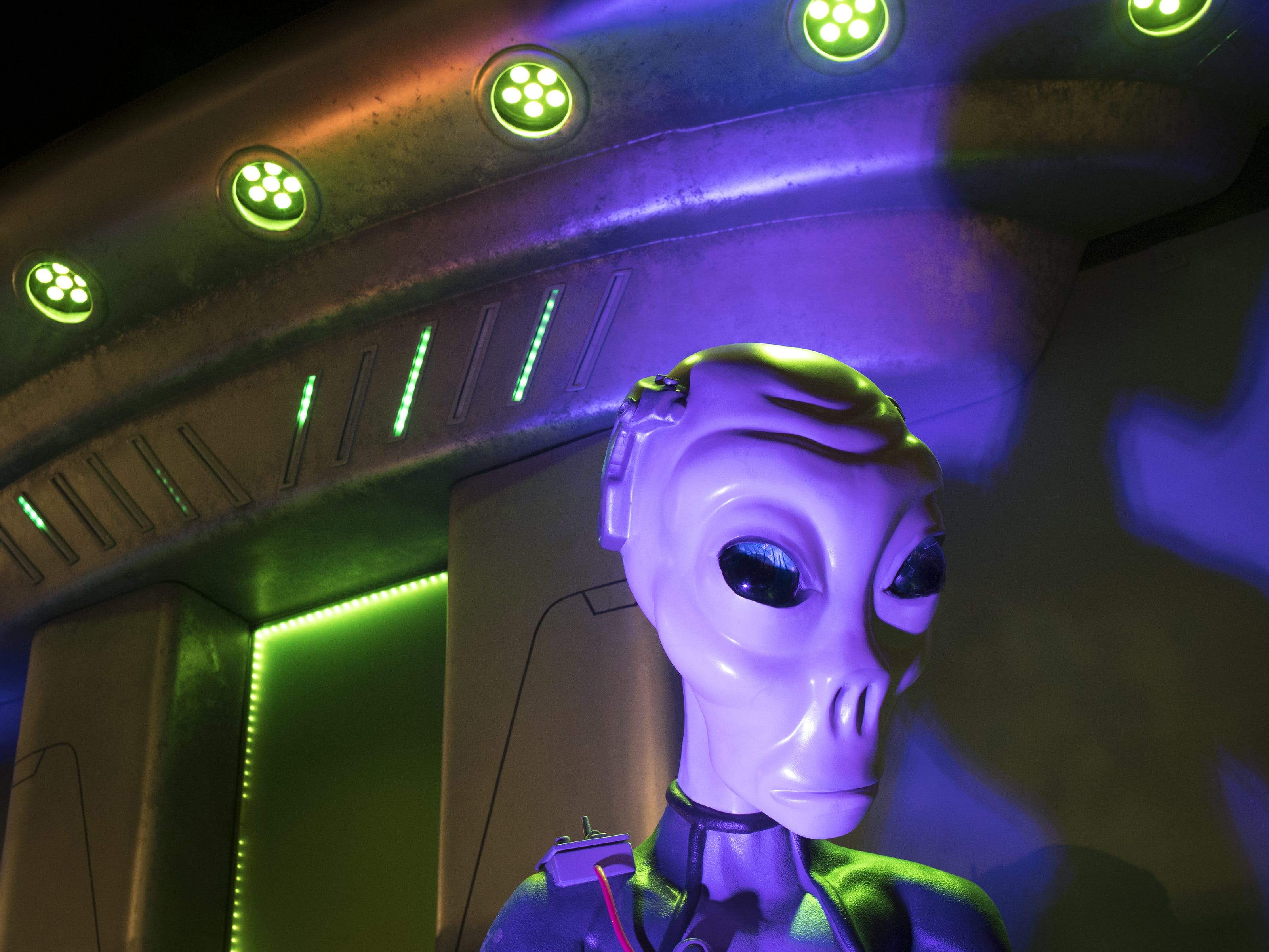 An alien on display near the entrance in the museum, September 11, 2018, at the Bowlin Travel Center, east of Benson, Arizona.