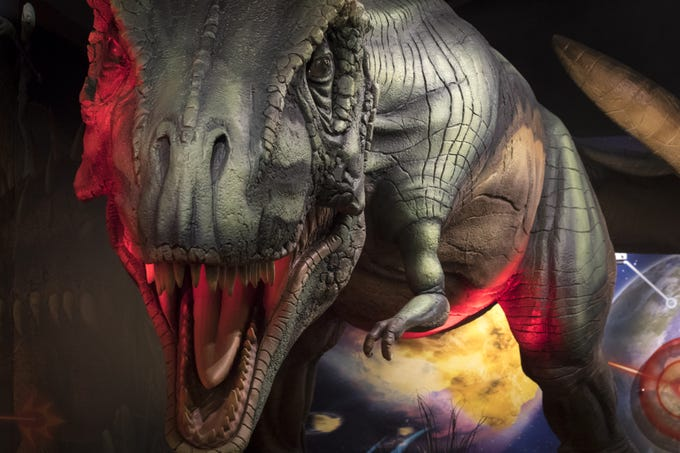 A dinosaur on display, September 11, 2018, in the museum at the Bowlin Travel Center, east of Benson, Arizona.