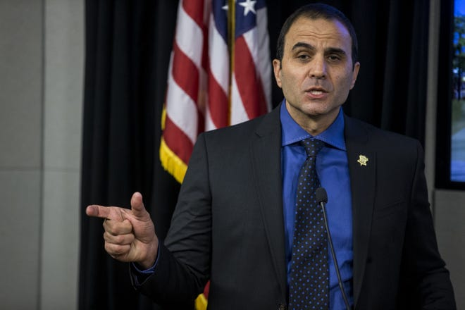 Maricopa Country Sheriff Paul Penzone speaks Wednesday during a press conference in Phoenix about a federal lawsuit against his office and deputies.