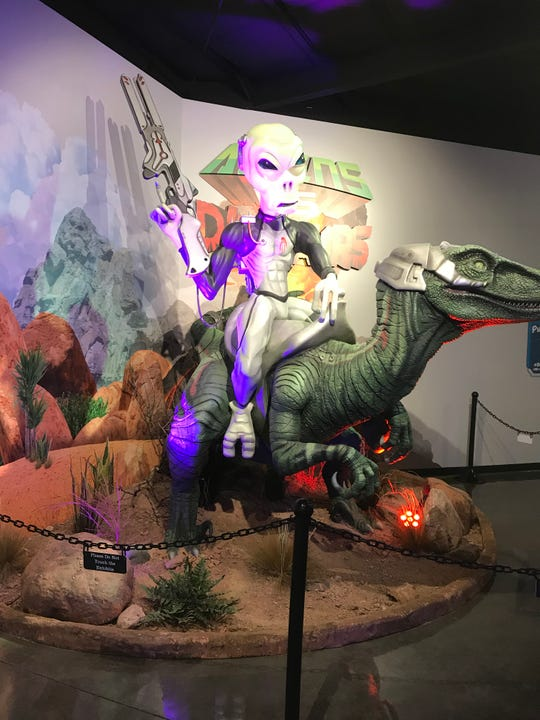 Few know how aliens used mind-control devices to ride dinosaurs, history explained in The Thing Museum near Benson.