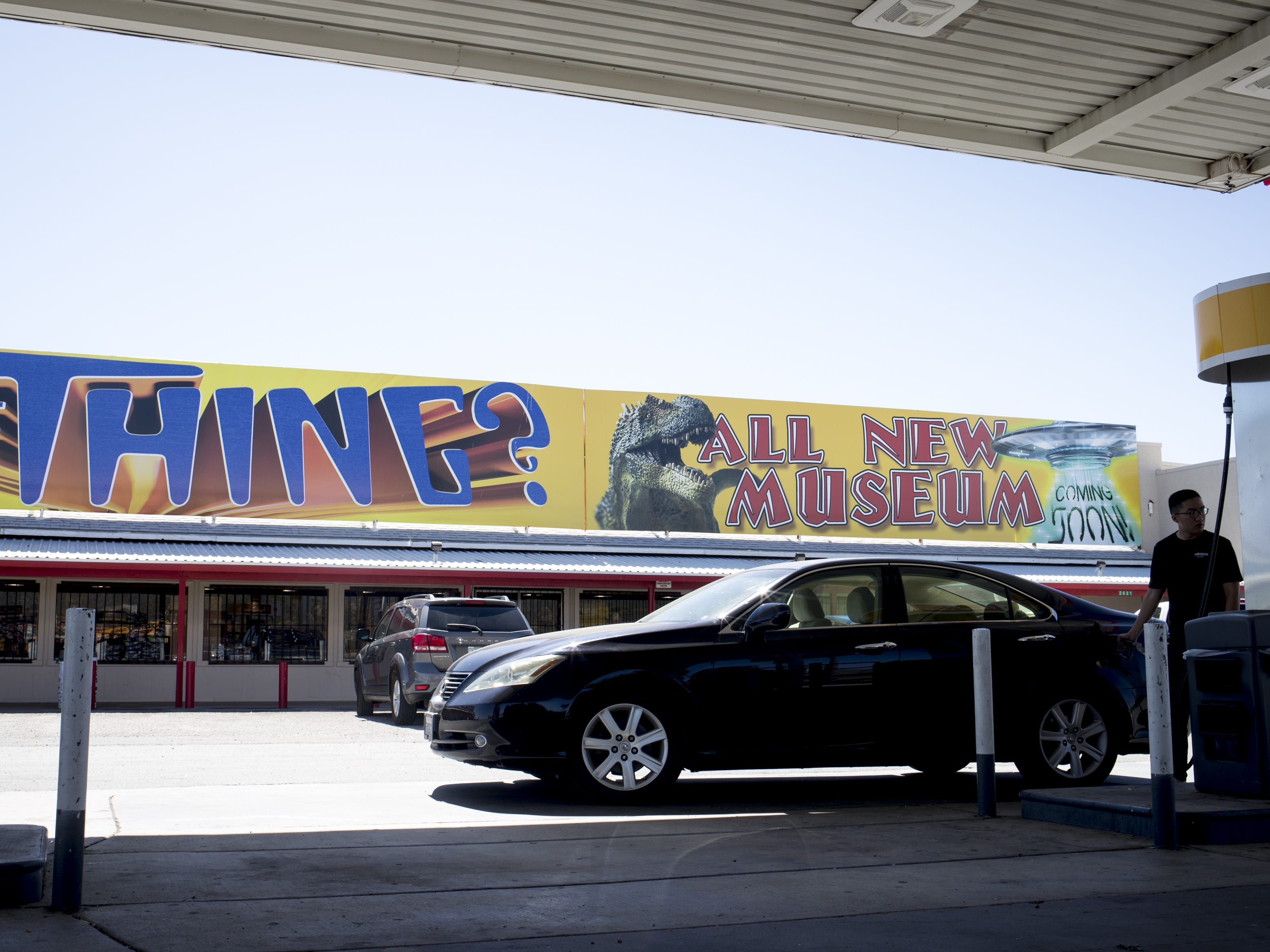 A motorist pumps gas at the Bowlin Travel Center, September 11, 2018. The center is located on Interstate 10 at exit 322, east of Benson, Arizona.