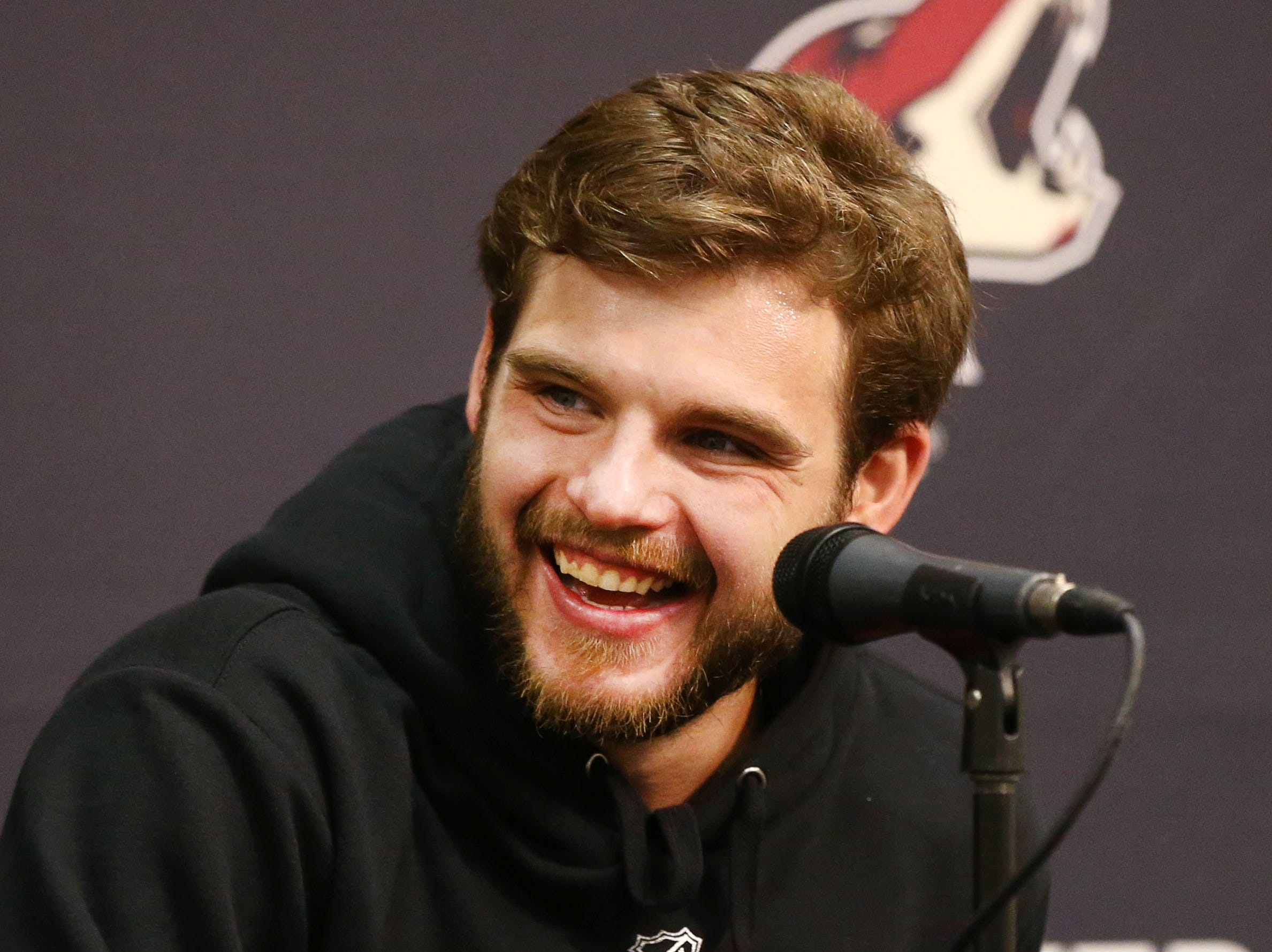 Arizona Coyotes center Alex Galchenyuk during media day on Sep.13, 2018, at Gila River Arena in Glendale, Ariz.