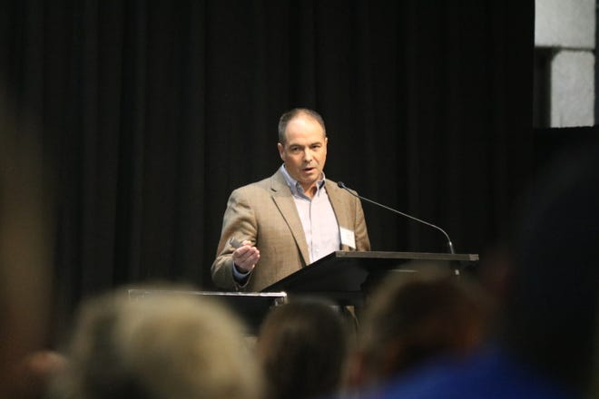 Peter Kleinman, of the U.S. Department of Agriculture, speaks about the vital role phosphorus worldwide at the Understanding Harmful Algal Blooms: State of the Science conference in Toledo on Thursday.