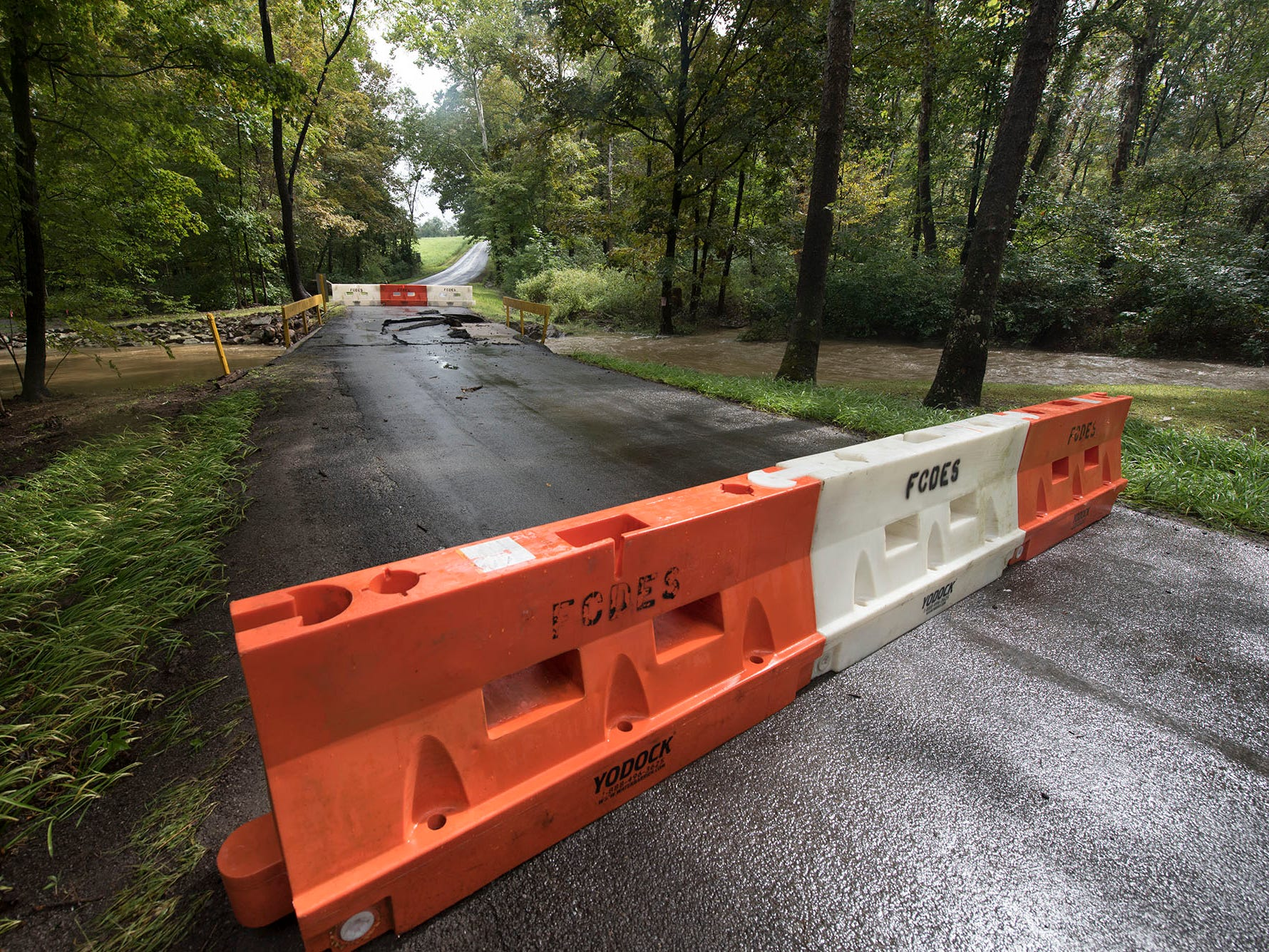 A bridge was destroyed and there is street flooding and road closings around Shimpstown Road in the Mercersburg area on Thursday, September 13, 2018.