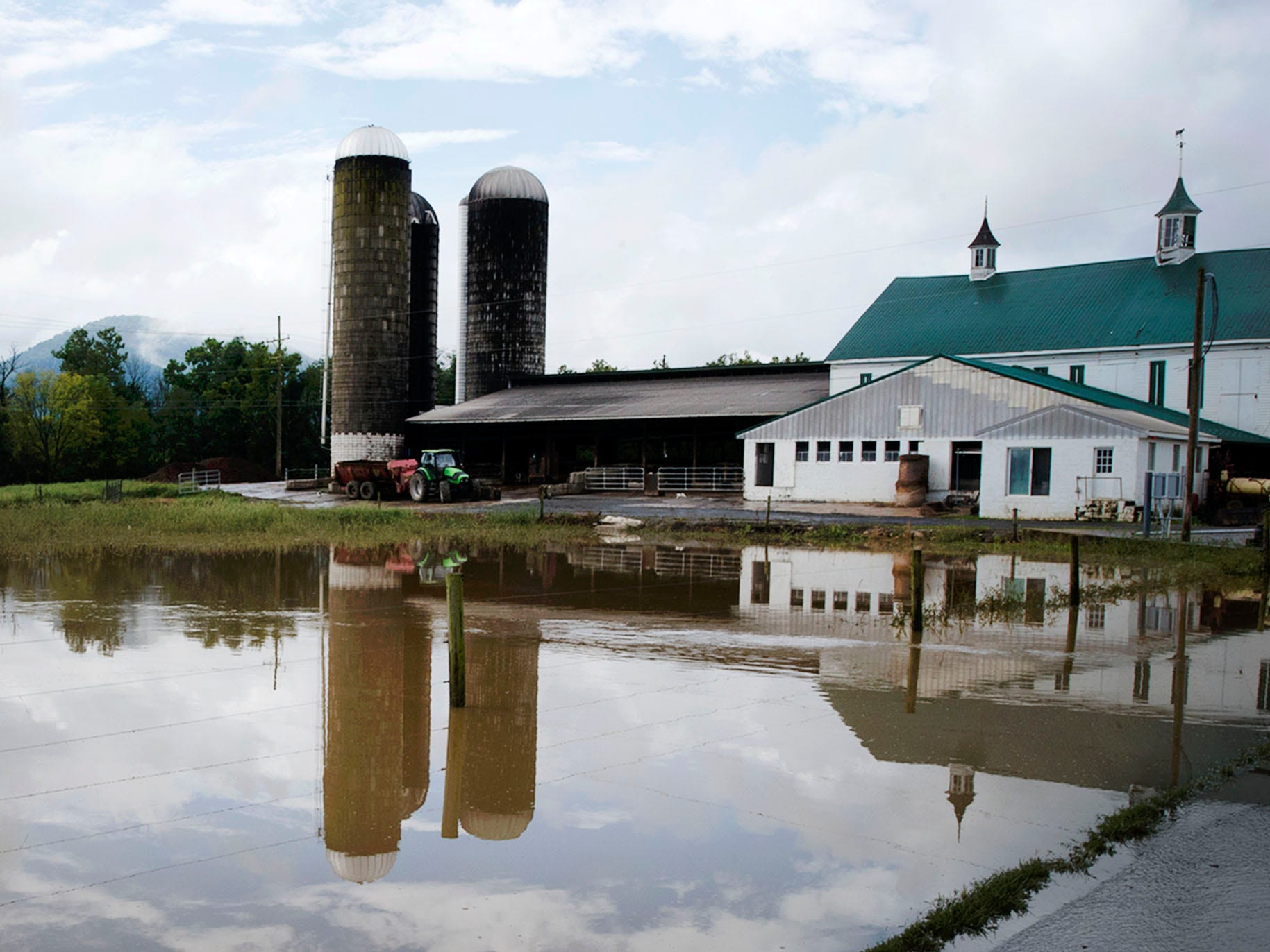 A farm in the 11,000 block of Shimpstown road experienced flooding. A bridge was destroyed and there is street flooding and road closings around Shimpstown Road in the Mercersburg area on Thursday, September 13, 2018.
