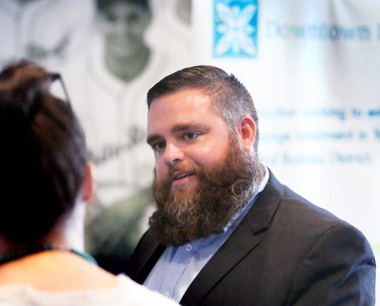 Downtown Inc Chief Executive Officer Silas Chamberlin talks during a press conference at PeoplesBank Park announcing an alliance between his organization and the York County Economic Alliance Thursday, Sept. 13, 2018. Bill Kalina photo