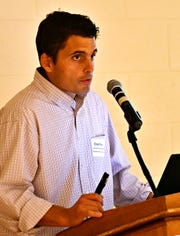 Instructor Chad Forry speaks during the Northeastern High School D.R.I.V.E. (Driving Resources Innovation Vehicular Education) program fundraiser launch at the school in Manchester, Wednesday, Sept. 12, 2018. The program provides basic CDL license training and networking opportunities for students in commercial driving industry. Dawn J. Sagert photo