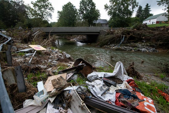 Storm damage remains along Otter Creek in Chanceford Township. Flash flooding on Aug. 31 wreaked havoc in the area and elsewhere in the county.