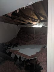 An apartment roof collapsed Wednesday night in Shrewsbury.