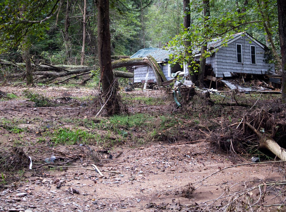 A house, destroyed by the Aug. 31 flooding, sits along the bank of Otter Creek. Flash flooding ripped houses from foundations, moved boats into yards and destroyed roads and bridges in Chanceford Township and elsewhere in the county.
